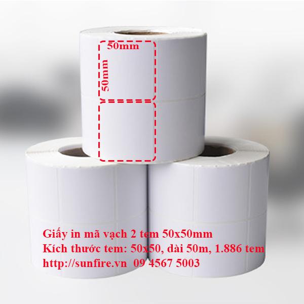 Giấy in mã vạch 2 tem 50x50