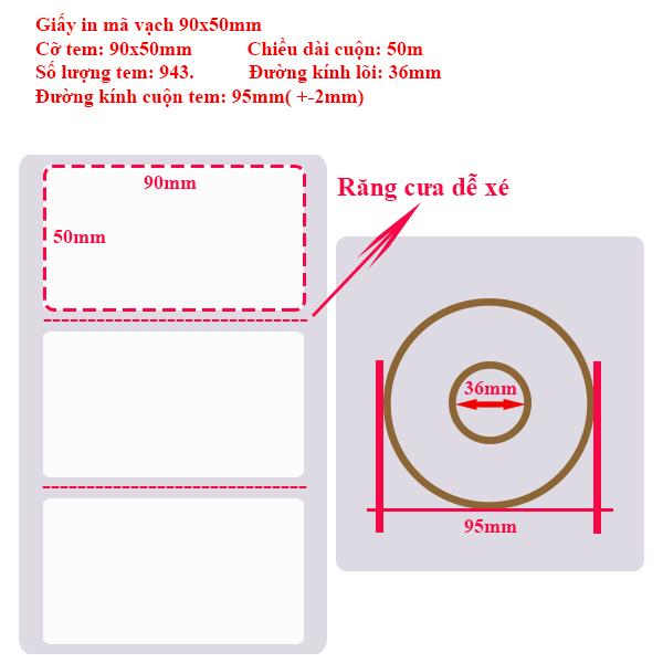 Giấy in tem mã vạch 90x50
