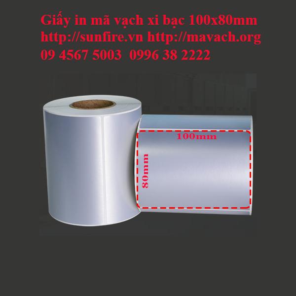 Giấy in mã vạch xi bạc 100x80